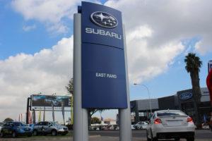 cmh subaru east rand- outdoor dealership subaru sign